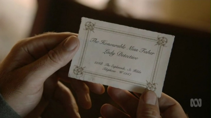 Miss Fisher's business card.