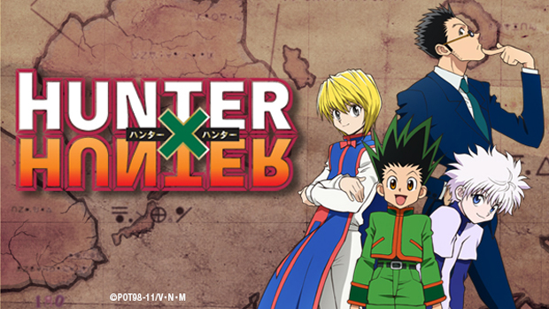 A splash image for the anime Hunter X Hunter, which displayes the title as well as four main characters: Killua, Gon, Kurapika, and Leorio.