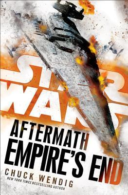The cover of Empire's End, showing a smoking star destroyer falling to earth, where it appears to be about to crash.