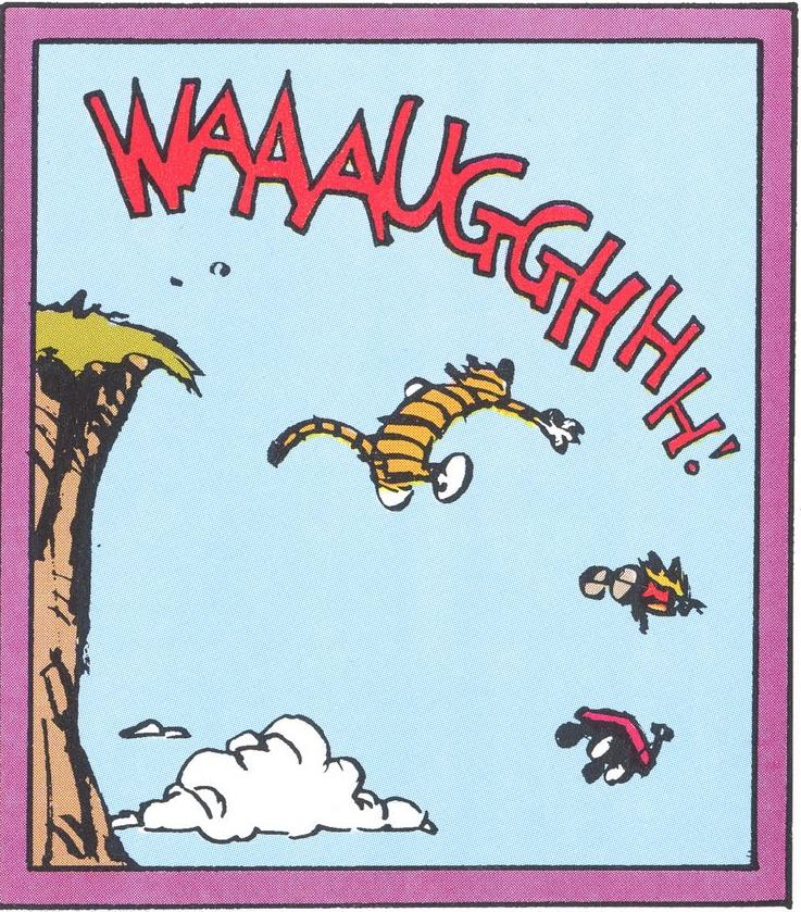 Calvin, Hobbes, and a wagon, yelling as they careen over a cliff.