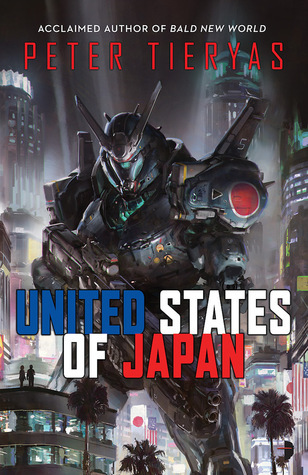 The cover to the book United States ofJapan, with a large black mech standing over a dense city.