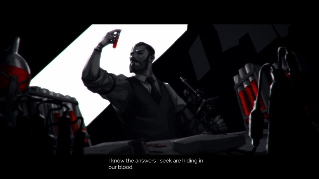 """A cutscene image from Vampyr with Johnathan saying """"I know the answers I seek are hiding in our blood."""""""