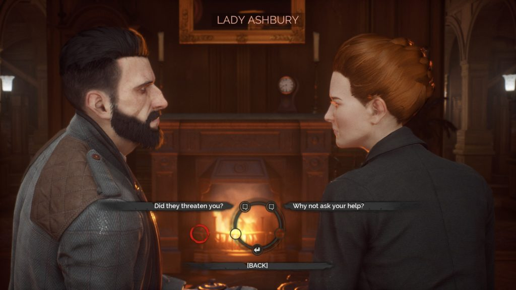 Jonathan and Lady Ashbury in a dialogue scene in front of a fire.