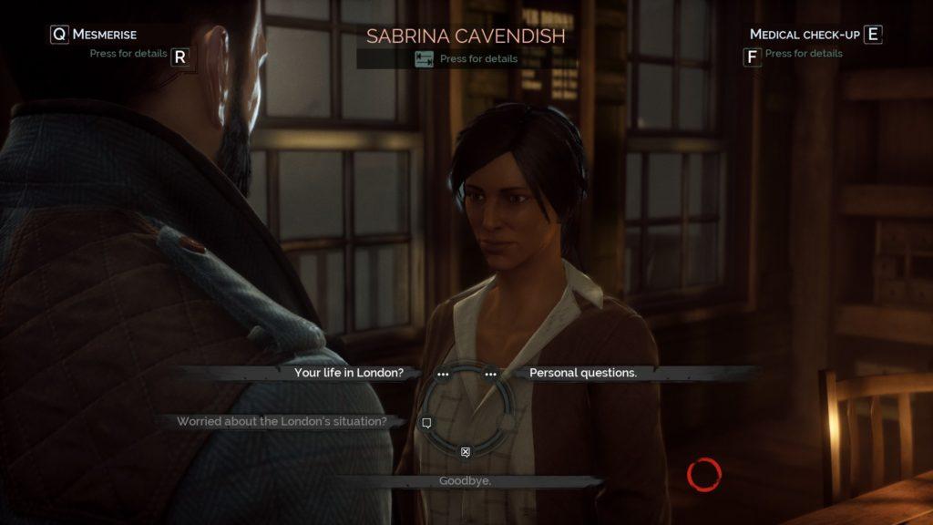 A dialogue scene of Jonathan talking to Sabrina Cavendish, a docks NPC.
