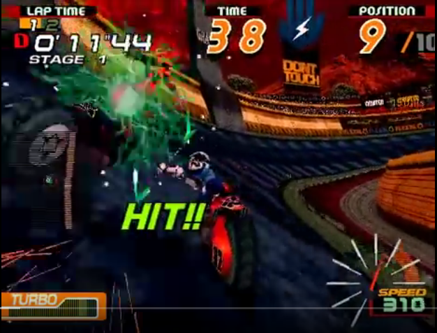 An image of Robin from the arcade game Motor Raid hitting another person off their motorcycle with her energy staff thing.